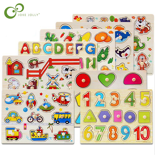 30cm Kid Early Educational Toys Baby Hand Grasp Wooden Puzzle Toy Alphabet