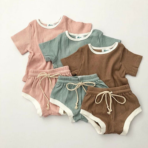 Baby Girls Boys Clothes Cotton Tops Shorts Pants 2Pcs Outfits Infant 12M 24M