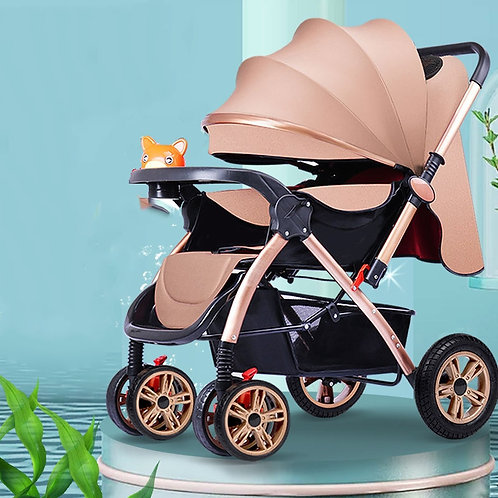 Baby Stroller 3 In1 High View Pram Landscape Baby Carriage 360 Rotation Travel