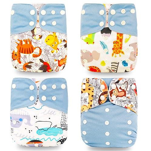 Happyflute HOt Sale OS Pocket Diaper 4pcs/Set Washable &Reusable Baby Nappy New