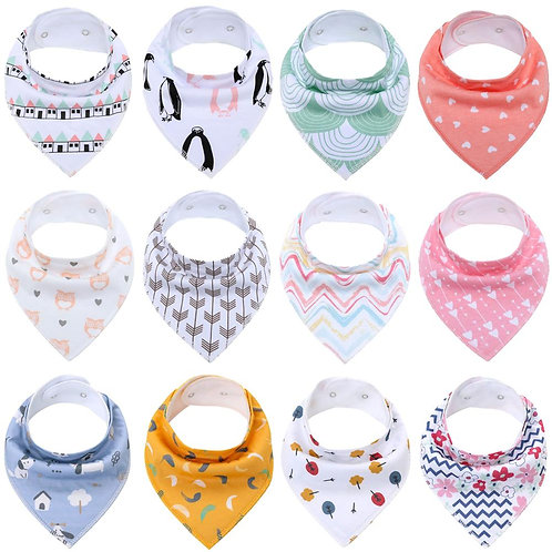 Baby Bandana Drool Bibs for Boys and Girls,Super Soft Unisex 12 Pack Absorbent