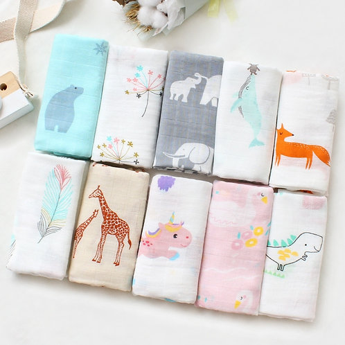 60*60cm Newborn Square Sequins Bamboo Muslin Swaddles Wrap Burp Towel
