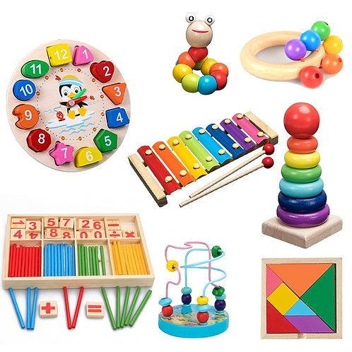 QWZ Montessori Wooden Toys Childhood Learning Toy Children Kids Baby Colorful