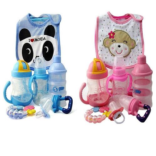 7pcs/Pack Cotton Cartoon Bib Teether Baby Comfort Pacifier Chain Food Supplement