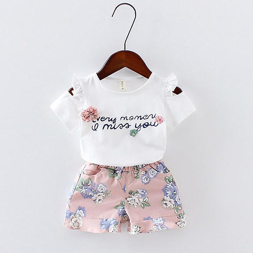 Baby Girls Clothes Floral Printed Short Sleeve Strapless T-Shirt+pant 2pcs Girl