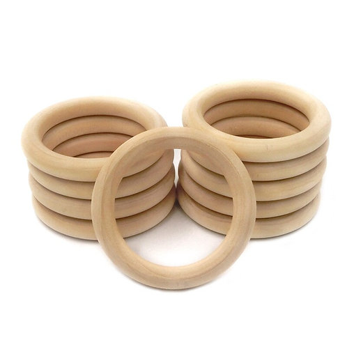 55mm/70mm 5PCS Natural Baby Wooden Teething Rings Children Kids  Wooden Jewelry