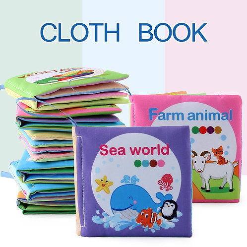 Animals Fruits Nature World Transportation Vegetables Series Soft Cloth Books