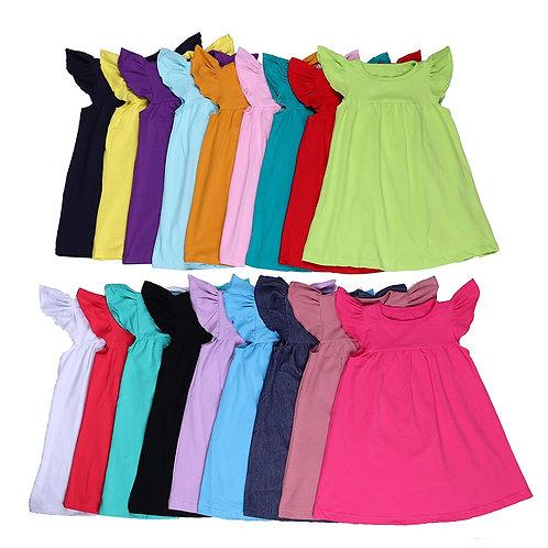 100% Cotton Girls Pearl Dress Flutter Sleeve Solid Dresses for Little Girls