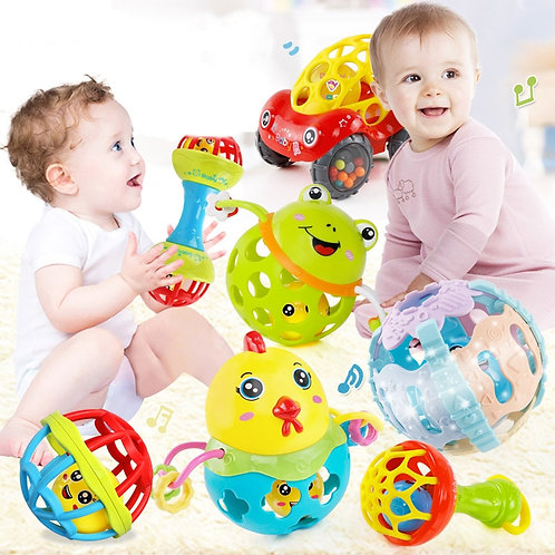 Baby Rattles Toy Car Hand Bell Baby Toys 0-12 Months Soft Plastic Baby Teether