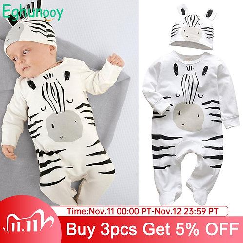 Newborn Infant Baby Boys Romper Clothes Cotton Cute Cartoon Print Long Sleeve