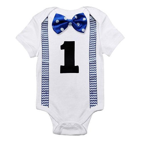 Infant Baby Boys Short Sleeves Number 1 First Birthday Romper Newborn Baby
