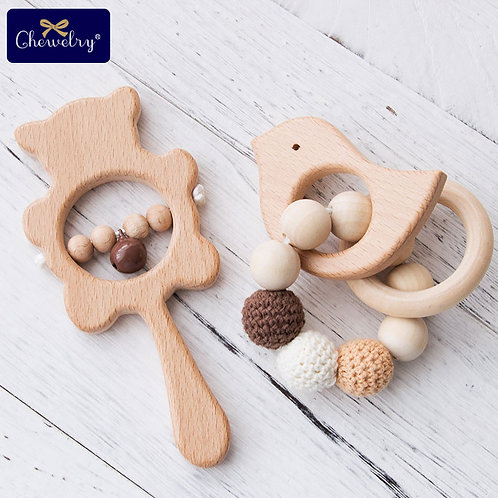 1Set Baby Toys Wooden Teether Rattle Wooden Bracelet Hand Teething Rattles