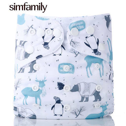 [Simfamily]1PC Reusable Waterproof Digital Printed Baby Cloth Diaper One Size