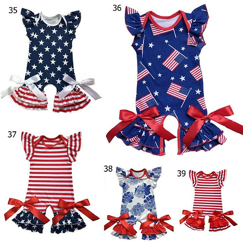 Bulk Patriotic Infant Clothes Newborn Clothing in 4th of July Baby Gown Romper