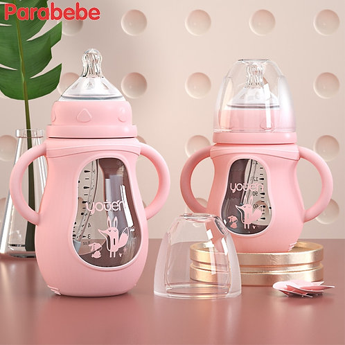New Arrival Glass Baby Bottle Straw Drop-Resistant Water Drink Bottles for Baby