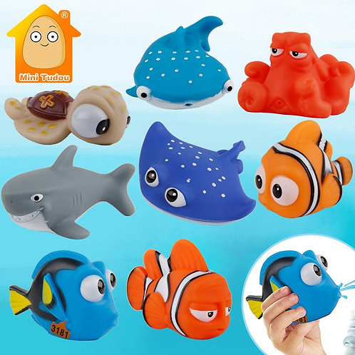 Baby Bath Toys Finding Fish Kids Float Spray Water Squeeze Aqua Soft Rubber
