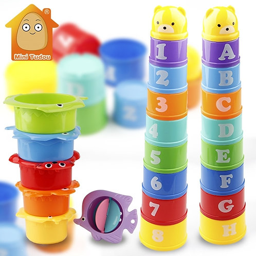 Stack Cup Educational Baby Toys Rainbow Color Figures Folding Tower Funny Puzzle