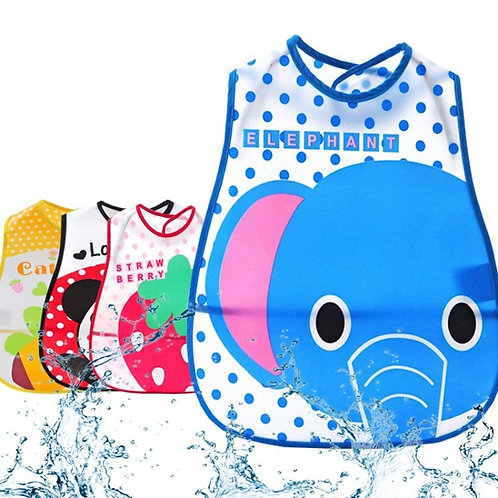 1pcs Elephant Bib Adjustable Baby Bibs Plastic Waterproof Lunch Feeding Bibs