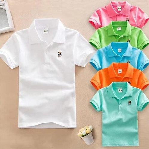 Summer Baby Boys Short Sleeve Polo Shirt 2-11t Children Lapel Solid Color Clothe