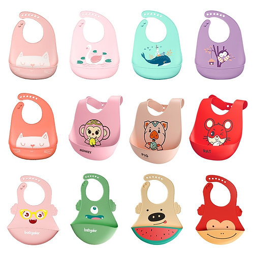 Baby Waterproof Silicone Feeding Saliva Towel Newborn Cartoon Aprons Baby Bibs