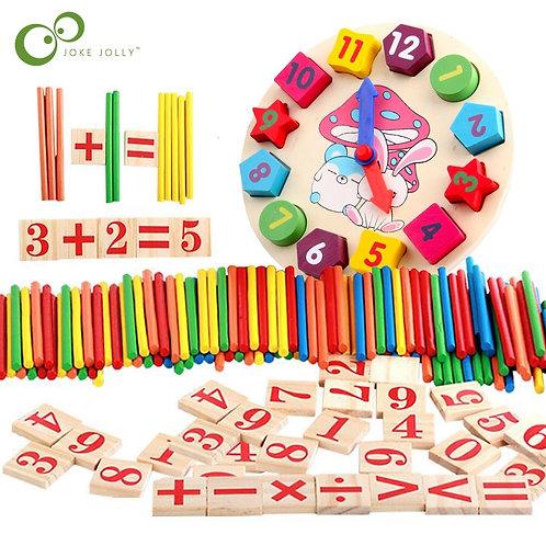Colorful Bamboo Counting Sticks Clock Toy Mathematics Montessori