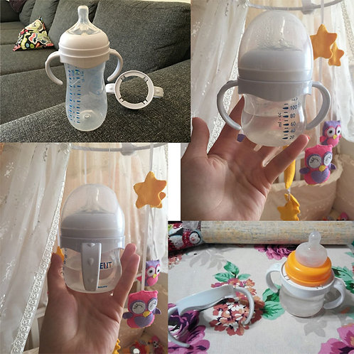 Brand New 2019 Bottle Grip Handle for Avent Natural Wide Mouth PP Glass Baby