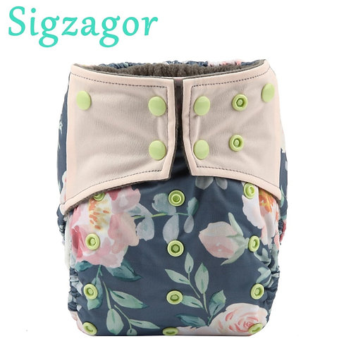 1 Charcoal Bamboo Baby Cloth Diaper Nappy Washable Reusable Double Gusset 3-15kg