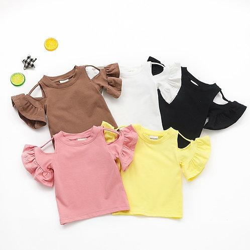 Baby Kids Girls Clothes for Girl Summer T-Shirt Children Ruffle Sleeve  Shoulder