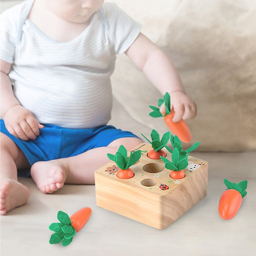 Wooden Toys Baby Montessori Toy Set Pulling Carrot Shape Matching Size Cognition