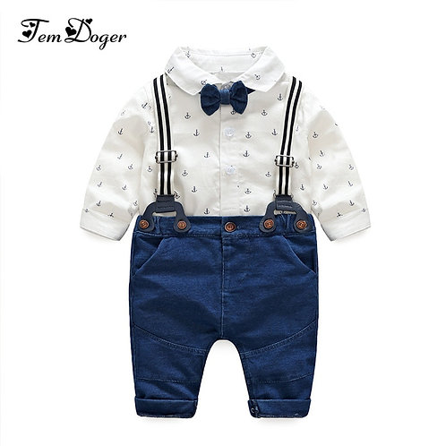 Tem Doger Newborn Boy Clothes Autumn Baby Boy Clothing Set Tie Rompers+Overalls