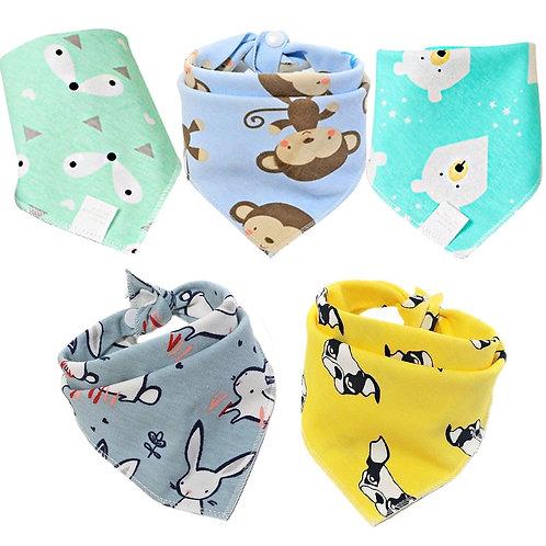5 Pcs/Lot Baby Bandana Bibs Scarf Burp Cloths Saliva for Newborn Infant