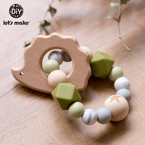 Let's Make Wooden Rattle Teether Baby Toys Engraved Wood Beads Hexagon