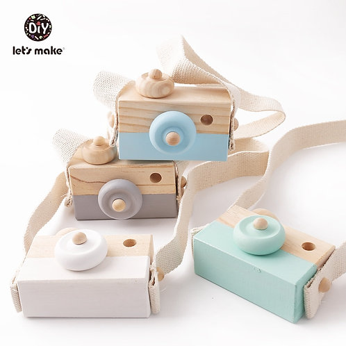 Let'S Make 1Pc Wooden Baby Toys Fashion Camera Wood Pendants Montessori Toys