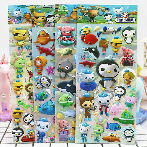 3D Puffy Bubble Stickers Cartoon Princess Cat Waterpoof DIY Baby