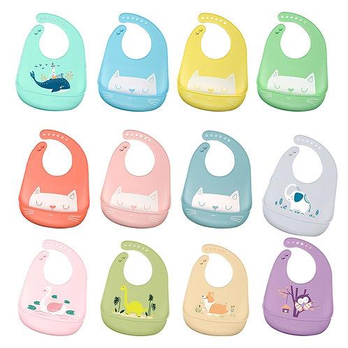 Baby Bibs Waterproof Silicone Feeding Baby  Towel Newborn Cartoon Aprons Baby