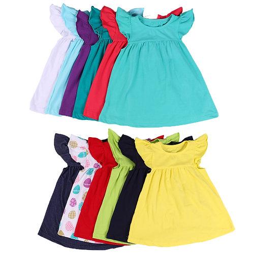 Summer Baby Girls Cotton Pearl Dress Tunic Teenage Little Girls Children