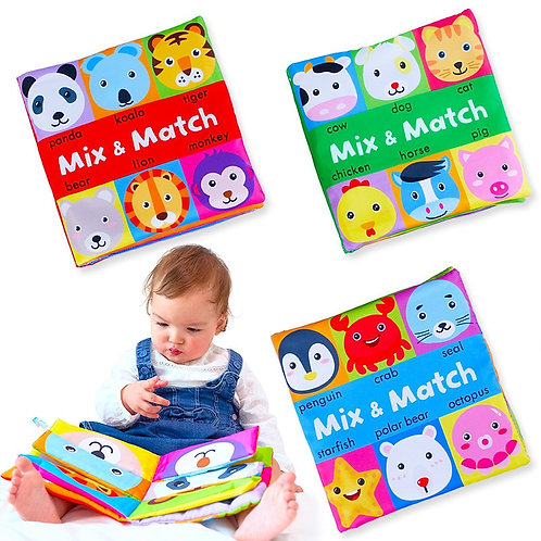 Cartoon Animal Face Matching Cloth Book Torn Baby Stereo Cloth Book
