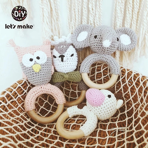 Newborn Baby Toys 1pc Wooden Teether Crochet Pattern Rattle Elephant Rattle Toy