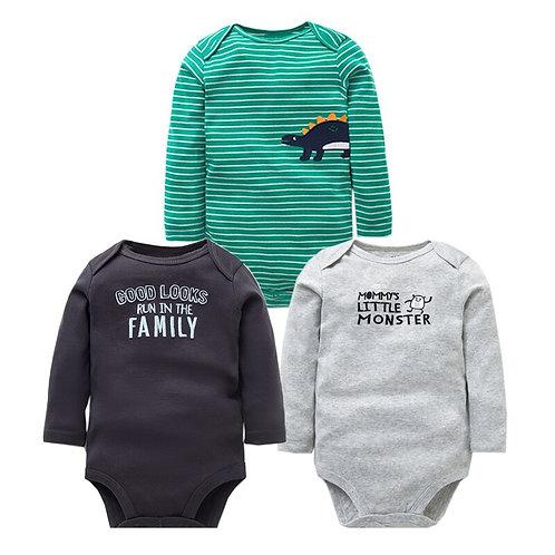 3 PCS/LOT Cute Newborn Baby Clothing Long Sleeve 100% Cotton Baby Boys Girls