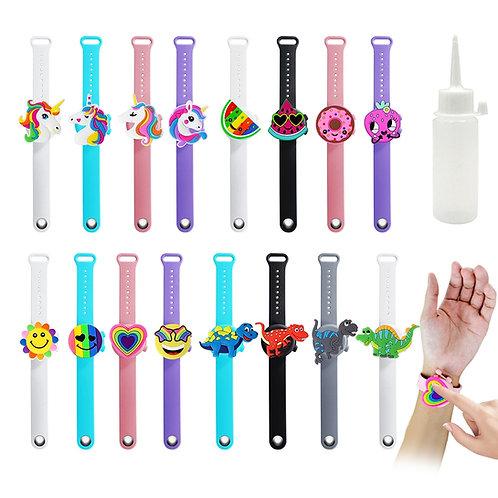 2Pcs Portable Cartoon Wristband Hand Dispenser Bracelet Hand Sanitizer Gel Soap