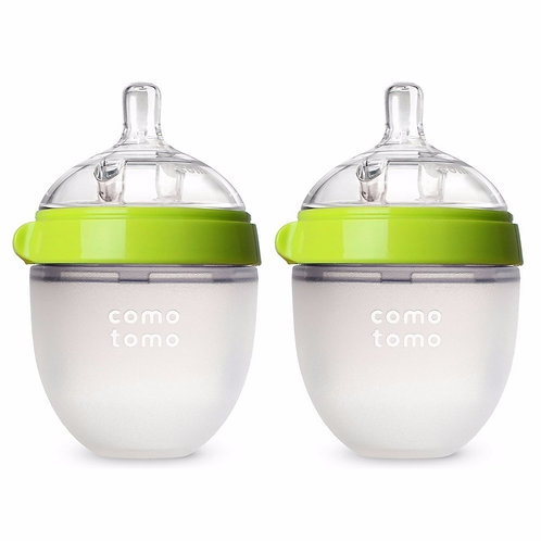 Silicone Baby Bottle Green/Pink 5 Oz and 8 Oz