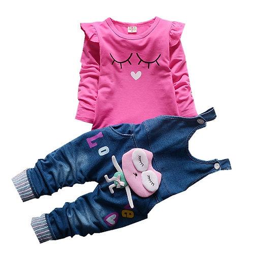 Autumn Newborn Girls Clothes Sets Long Sleeve T-Shirt+ Jeans 2Pcs for Kids