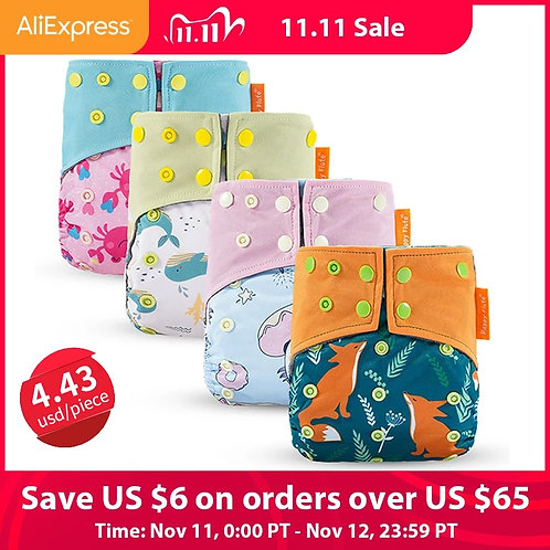Happy Flute Washable and Reusable Baby Bamboo Charcoal Pocket Cloth Diaper