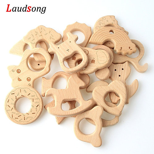2Pcs Baby Animal Natural Beech Teething Wooden Beads Toy Baby Teether