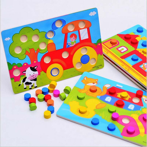 Color Cognition Board Montessori Educational Toys for Children Wooden Toy