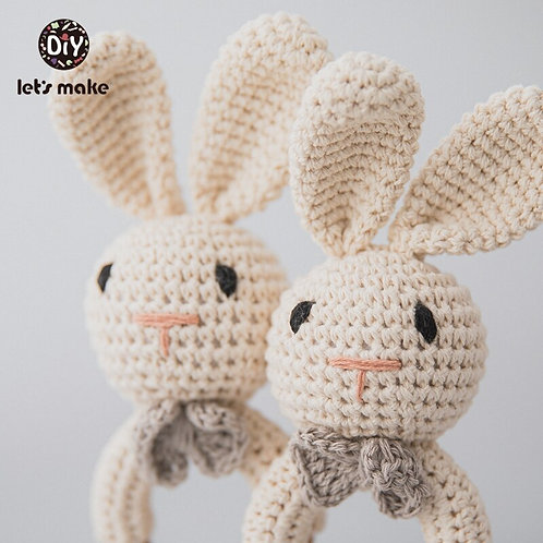 Let's Make 1PC Rabbit Dropshipping Crochet Rattle Soother Bracelet Teether Set
