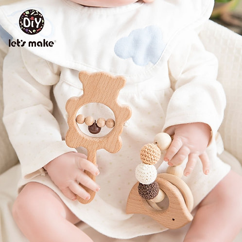 Let's Make Baby Toys Teether Wooden Rattles Bracelet Pacifier Chain Rodent