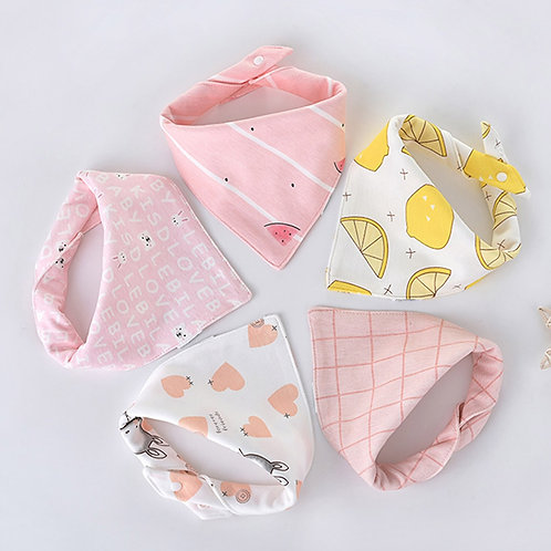 5pcs/Lot New Baby Bibs for Boy Girl Bandana Bib Burp Cloth Cute Triangle Cotton