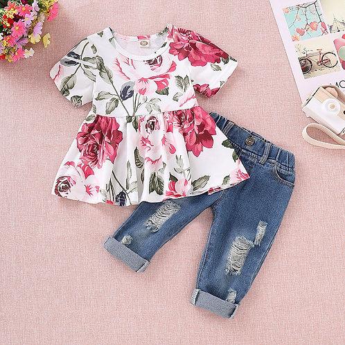 TELOTUNY Children's Clothing Baby Girls Fashion Short Sleeve Floral Crop Tops