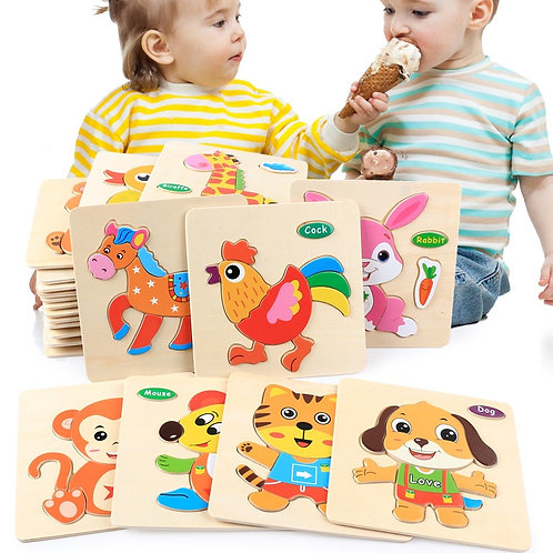 Baby Toys 3D Wooden Puzzle Jigsaw Toys for Children Cartoon Animal Puzzles